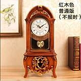 Y-Hui Peening Time-Base Clock Desk Clock Clock Im Wohnzimmer Schlafzimmer alte Pendeluhr Desktop Dekor Schwingen ist 12 Zoll, Dunkelbraun (Nicht gemeldet).