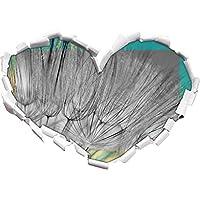 Denti di leone semi di Close nero / bianco a forma di cuore nel formato sguardo, parete o adesivo porta 3D: 62x43.5cm, autoadesivi della parete, decalcomanie della parete, decorazione della
