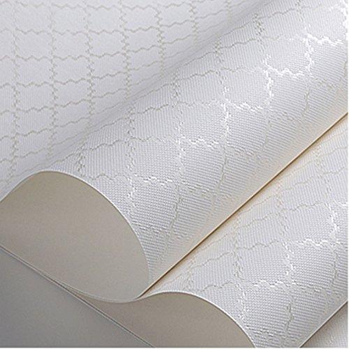 Moderne einfache Vliestapete 3d Schlafzimmerwohnraumhintergrundtapete reines Farbplaid (Color : Creamy-white) -