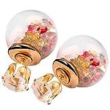 Pendientes de cristal de moda Rhinestone Stud Pendientes de doble cara esféricos Pendientes de color