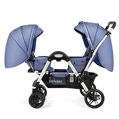 Sillas de paseo Doble en tándem, 2 Asientos reclinables, Cochecito Plegable compacta/Bandeja compartida, para bebés y niños pequeños