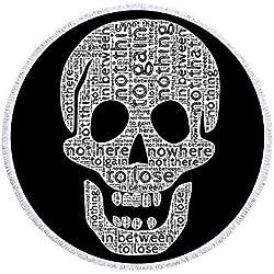 GOLDT1 Calavera Redonda Toalla de Playa Impreso con Borla Manta de Esqueleto Microfibra Picnic Estera Grande 150 cm para la decoración del hogar (Color : 5, Size : 150CM)