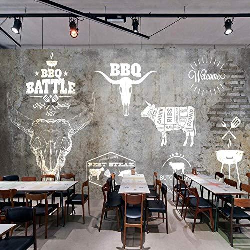 WDFXY Benutzerdefinierte 3D-Wandbild American Retro Steak Western Restaurant Rindfleisch Hot Pot Shop Backsteinmauer Wandbild Küchentapete@220x140cm