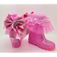 Pink party wellies girls size 6 .Bling Romany glitter rhinestone Wellington boots