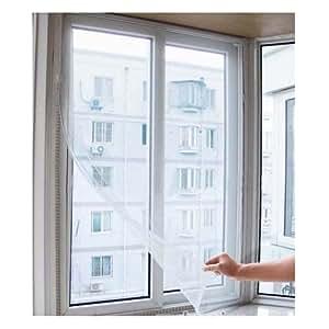 popamazing 150 x 140 cm fenster bildschirm mesh wei k che haushalt. Black Bedroom Furniture Sets. Home Design Ideas