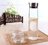 1L / 1.5L vetro acqua Caraffa brocca con coperchio in acciaio inossidabile, facile da versare, Brocca vetro borosilicato Tè freddo, acqua calda e fredda Caraffa per acqua, latte, succo di frutta, tè freddo, limonata & Sparkling bevande (1L)