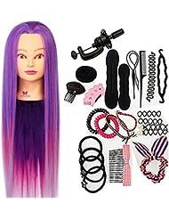 Neverland 66 cm Têtes d'exercice Têtes à Coiffer 100% Cheveux Synthétiques Violet Synthetiques Cheveux avec Pince et Ensemble de Tresse
