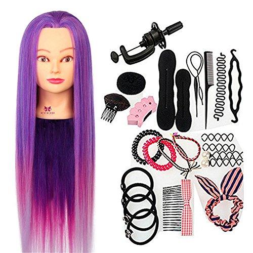 Neverland 66 cm 100% Cheveux Synthétiques Têtes à Coiffer Violet Synthetiques Cheveux avec Pince et Ensemble de Tresse