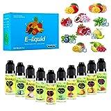 E Liquids Shisha Cigarette Box ohne Nikotin für Elektronische Zigarette,E Liquid 10x15ml,Nikotinfrei E Zigaretten und E-Shishas Liquid 60VG/30PG/10 Aroma,0,0 mg Nikotin