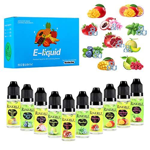 E Liquids Shisha Cigarette Box ohne Nikotin für Elektronische Zigarette,E Liquid 10x15ml,Nikotinfrei E Zigaretten und E-Shishas Liquid 60VG/30PG/10 Aroma,0,0 mg Nikotin(Mango-Eis,Granatapfel-Eis