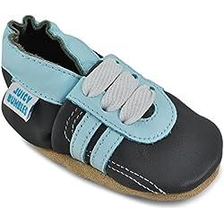 Juicy Bumbles Basket Bebe Garcons - Chaussures Bébé Garcon - Chaussons Bébé Cuir Souple - Tennis Grises - 12-18 Mois