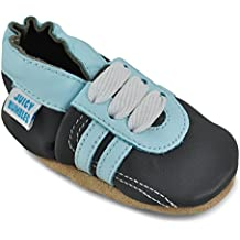 5a1be27c9 Zapatos de Bebé – Zapatillas de Cuero Niño Niña – Patucos de Piel con  Elástico para Bebé - Zapatitos Primeros Pasos - Pantuflas Infantiles 0-6  Meses 6-12 ...