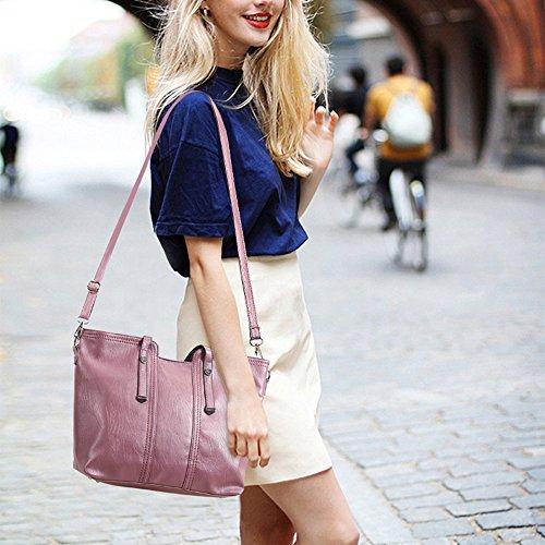 Leder Damen Handtaschen Große Henkeltaschen Satchel Hobo Crossbody Umhängetaschen Taschen Geldbörse mit 3 Stück Set für Frauen Mädchen - Schwarz Lila