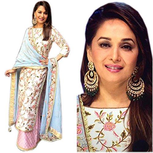 Astha bridal women designer banglory silk suit( madhuri dixit white suit-1_white_42)