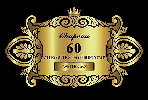 Oblique Unique® Aufkleber Flaschenetikett Etikett 60 Geburtstag Gold elegant