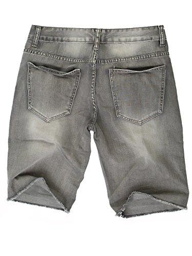 Herren Jeans Shorts kurze Hose Cinkle Optik Vintage Destroyed Bermuda Grau