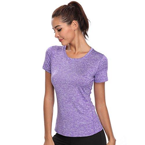 Joyshaper Training Top Damen Yoga Fitness Top T Shirt Quick Dry Kompression Sport Tanktop Sportshirt Trainingsshirt Shirt T-Shirt Running (Violett, Large)