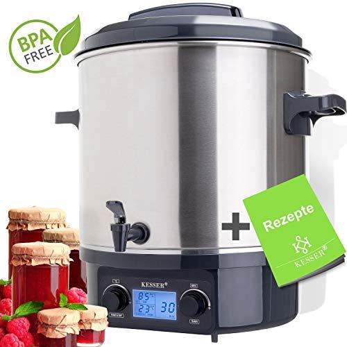 KESSER Einkochautomat 27 Liter Edelstahl mit Timer   2000 Watt   Temperatur von 30-100°C   Zeituhr bis 120