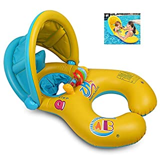Inflatable Dual Person Mother and Baby Safety Kids' Swim Float Rings Swimming Ring, Baby Aid Safety Pool Boat Toys with Sun Canopy & Steering Wheel & Horn, UV Pretection
