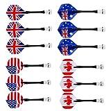 MagiDeal Magnetische Darts für magnetisches Dartboard (Motiv: Nationalflaggen), 6/12Stück, 12Pcs Mixed