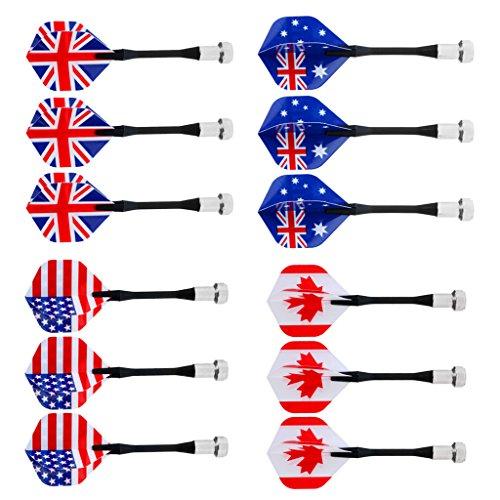 MagiDeal Magnet Dart Kunststoff Ersatz Dart für Magnet Dartboard Dartscheibe, Nationalflagge Muster, 6 / 12 Stück - Verschiedene Nationalflagge