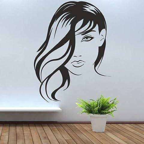 iClobber Bella Ragazza con Sweeping capelli nel lato del suo viso parete Spray Tan Smalto da parete Immagine Adesivo Vinile Arte Murale da parete Immagine Adesivo Vinile Arte Murale, Ivory, medium - Ragazze Personalizzato Photo