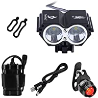 BYBO 5000 Lumen 2x Cree XML U2 LED Waterproof Bike Cycling Bicycle Light USB Rechargeable Headlamp Headlight + 4x18650 Battery Pack + Charger + Rear Light, 4 Switch Modes for Camping Hiking Bicycling Riding