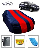 Fabtec Car Body Cover for Honda Amaze Red & Blue Colour with Storage Bag + Air Freshener + Microfiber Glove Combo!