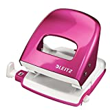 Leitz 50082023 Locher (30 Blatt, Anschlagschiene mit Formatvorgaben, Metall, Blisterverpackung, Wow) pink metallic