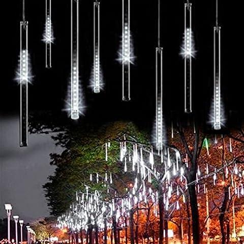 Goodid Guirnalda de luces impermeable 10 tubos de luz led-lluvia de meteoritos(Blanco 50cm)