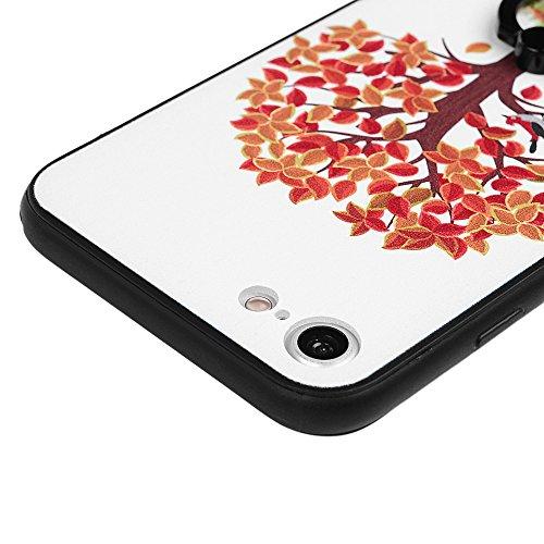 iPhone 7 Plus Hülle iPhone 7 Plus Hardcase YOKIRIN Premium Finger Halterung Smartphone Halter Schutzhülle Schwerschutz Case Flexibel Silikon TPU Rahmen + Hart PC Hardcase Handyschale Handyhülle Skin H Kleiner Baum