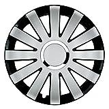 14 Zoll Bicolor Radzierblenden ONYX (Silber/Schwarz mit Chromring). Radkappen passend für fast alle FORD wie z.B. Fiesta MK7