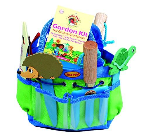 Tierra Garden 7-LP380 Garten-Satz für kleine Kinder, Schaufel, Gabel, Handschuhe, Pflanzen-Marker und Eimer, pinkfarbig