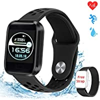 obqo Smart Watch,Fitness Tracker with Heart Rate Blood Pressure Sleep Monitor, GPS Sportwatch Pedometer IP67 Waterproof Calorie Counter for Kids Men Women iOS Android