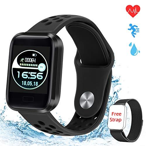 MTJJ Fitness Watch Activity Tracker Smartwatch con Cardiofrequenzimetro Contapassi Calorie Sportivo Monitor del Sonno IP67 Impermeabile Orologio per Donna Uomo Bambino con iOS Android (Nero)