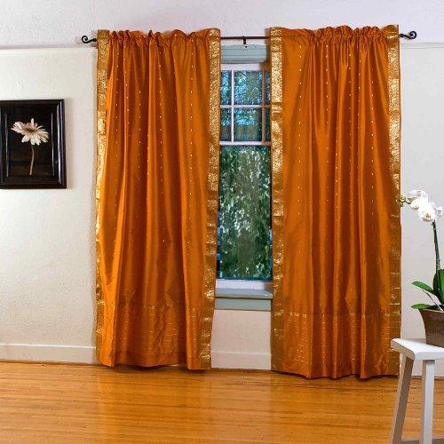 indischen Selections senf gelb Rod Pocket Sheer Sari Vorhang/Tuch/Panel-Stück 80 X 84 Inches (203 X 213 Cms) Mustard Yellow: Matching Lining - 80 X 84 Panel