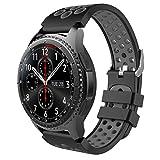 MoKo Armband für Samsung Gear S3 Frontier/Galaxy Watch 46mm / Classic Watch - Silikon Sportarmband Uhr Band Strap Erstatzband Uhrenarmband, Schwarz & Grau (Nicht für Gear S2 Classic)