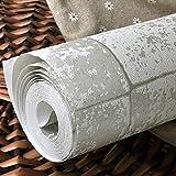 ZCHENG Normallack-Zement-graues Wandpapier-nichtgewebtes Ziegelstein-Muster-Gitter-Tapete für Wohnzimmer Schlafzimmer Fernsehhintergrund-Wandverkleidung, silbernes Grau, 5.3㎡