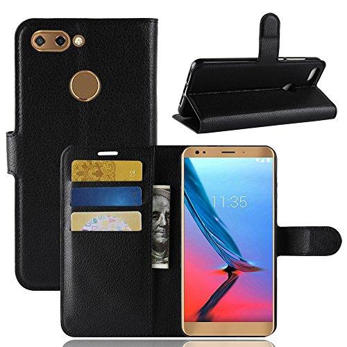 MaxKu ZTE Blade V9 Hülle, Premium PU Leder Mappen Kasten für ZTE Blade V9 Smartphone, Schwarz