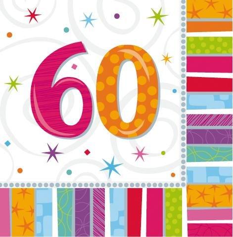 amscan Servietten 60. Geburtstag Stripes 16 St. Einheitsgröße (Geburtstag St 1)