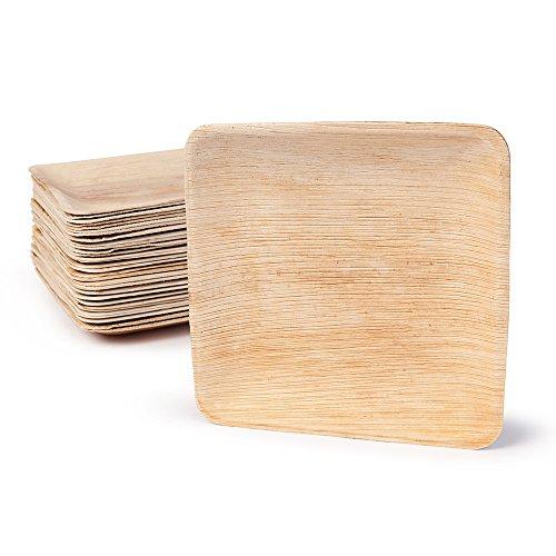 Hochwertiges Palmblattgeschirr von kaufdichgrün | 25 Stück Palmblatt Teller rechteckig 20 x 20 cm | Bio Einweggeschirr biologisch abbaubar Partygeschirr Einmalgeschirr Wegwerfgeschirr (100% Bambus-blätter)