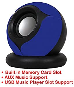 Portable Mini Speaker Supports with Memory Card/USB/AUX Function Compatible For Samsung Galaxy Grand Prime 4G-BLUE