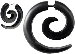 Chic-Net 1348/5000 Tribal Fake Ear Piercing Unisex Black Earring Sono in Legno Spiral Cinghia in Acciaio Inox 1mm Ear Studs Fake Helix per Gli Uomini Orecchini Tragus