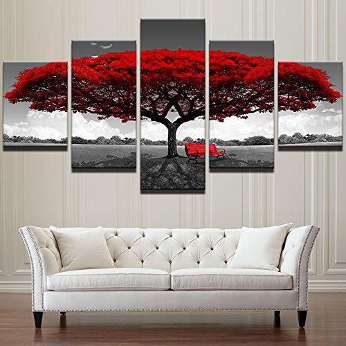 Home Decor HD gedruckt Wall Art Fotos 5 Stück rot Baum Kunst Landschaft Landschaft Leinwand Gemälde Home Decor für Wohnzimmer, 30 x 40 30 x 60 30 x 80 cm, Rahmen (Kunst Leinwand Foto)