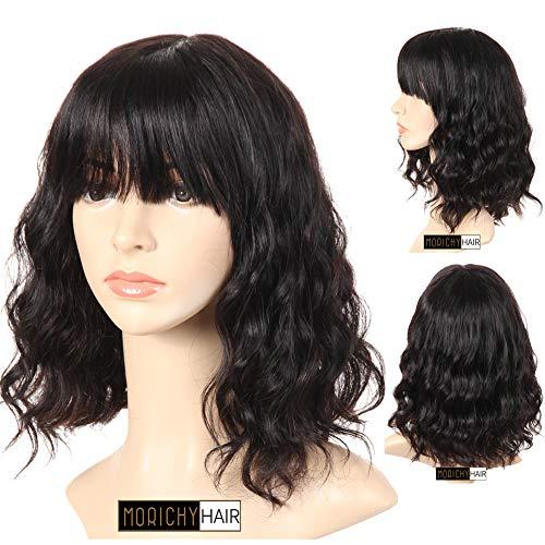 Morichy Human Hair Wigs Perruques Femmes Noire Body Wave Perruques Courtes Cheveux Naturels Perruques Femmes Cheveux Humain 130% Densité 100% Non Transformée Brésilienne Perruques Noire