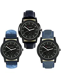 Talgo 2017 New Collection Foxter (combo Of 3) Black Round Shapped Dial Leather Strap Fashion Wrist Watch For Boys... - B0763TG1RF