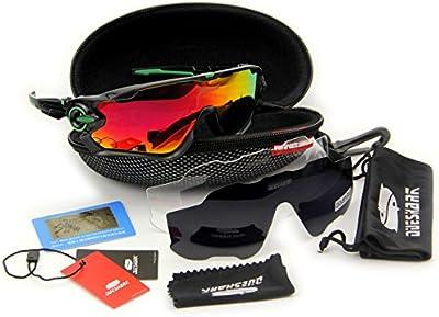 queshark Full revoed polarizadas lente Gafas de sol para ciclismo bicicleta 3lente