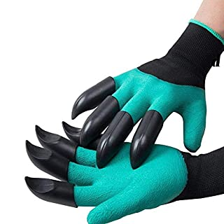 KOBWA Claw Garden Glove Gardening Genie Gloves for Kids Women Men, 1 Pair Waterproof Thornproof Viridescent Clawed Glove Tool for Planting Digging Weeding Seeding