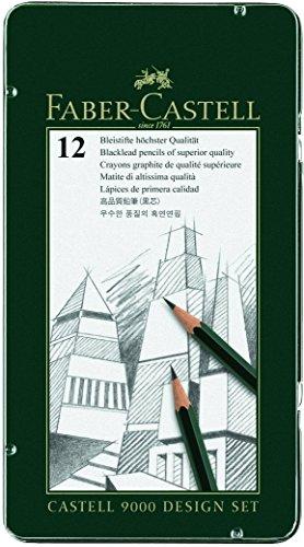 Faber-Castell 119064 CASTELL 9000 - Estuche de 12 lápices de grafito (5B - 5H) Grundsortiment 5B - 5H