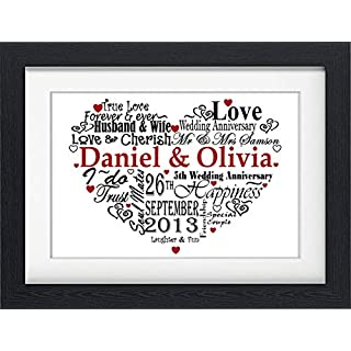 PERSONALISED ANNIVERSARY GIFT PRESENT WORD ART PRINT GIFT (WITH FRAME)